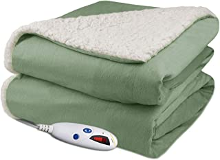 Pure Warmth Velour Sherpa Electric Heated Warming Throw Blanket Sage Washable Auto Shut Off 6 Heat Settings