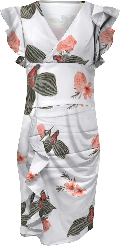 Sczwkhg Sleeveless Womens Dresses Summer Casual V-Neck Flowers Printing Slimming Ruffle Skirts Party Wedding Guest Sundresses