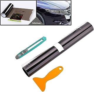AMIGOB Scheinwerfer Folie Tönungsfolie Aufkleber 200x30cm für Auto Scheinwerfer Rückleuchten Blinker Nebelscheinwerfer (Hellschwarz)