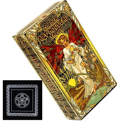 WWKA 2020 Nuevo 78 hojas de oro Art Nouveau Tarot Cartas y Tarot Cloth Party Jugar juegos Destino Tarjetas de adivinación LLAN