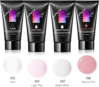 Modelones Poly Nail Gel Set - Nail Extension Builder Gel Set with 4 Colors 30g Required UV LED Nail Light Lamp