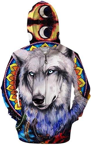 WDDGPZWY Sweats Capuche Pull sweat à capuche Wolf & Galaxy 3D Zip sweat à capuche Hommes Zipper Hoody Dessin Animé Mignonne Sweat SurvêteHommest SurvêteHommest Pull Veste ruewear
