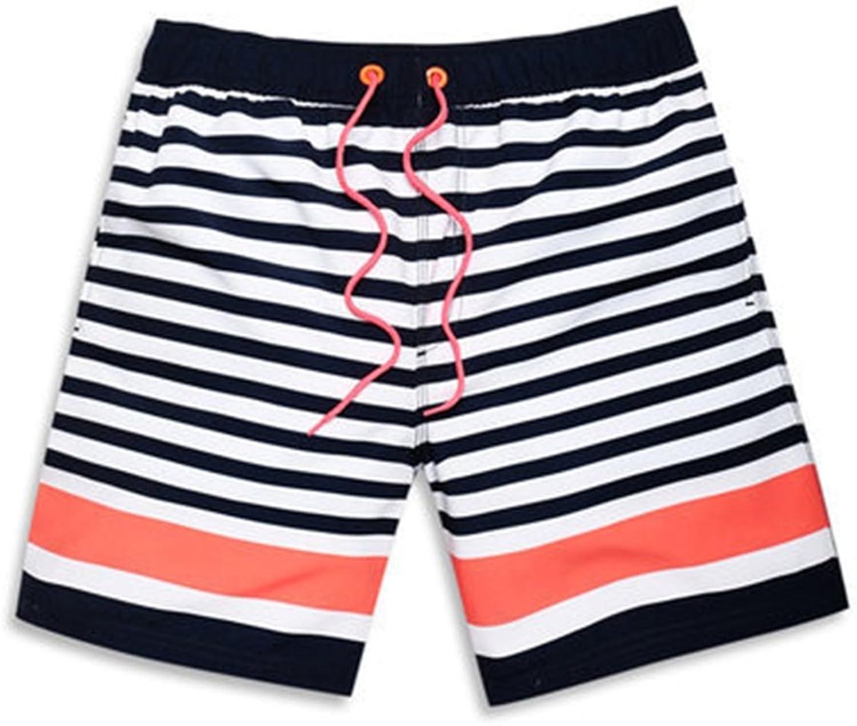Men's Beach Shorts, Pinstriped Beach Pants Loose Men Swim Trunks Pink