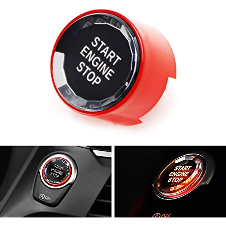 iJDMTOY (1) Crystal Diamond Reflective Engine Push Start Button w/Red Trim Compatible with BMW F/G Chassis Code 2 3 4 5 7 Series, X1 X2 X3 X4 X5 X6 w/Auto Start/Stop Feature