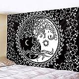 PPOU Tapiz de Mandala de Luna en Blanco y Negro Estilo Bohemio Colgante de Pared Manta de Arte psicodélico Colgante de Pared A3 180x200cm
