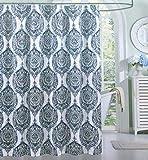Indigo Loft Duschvorhang aus Stoff, mit schwebendem Blumenmuster, Blau / Grau