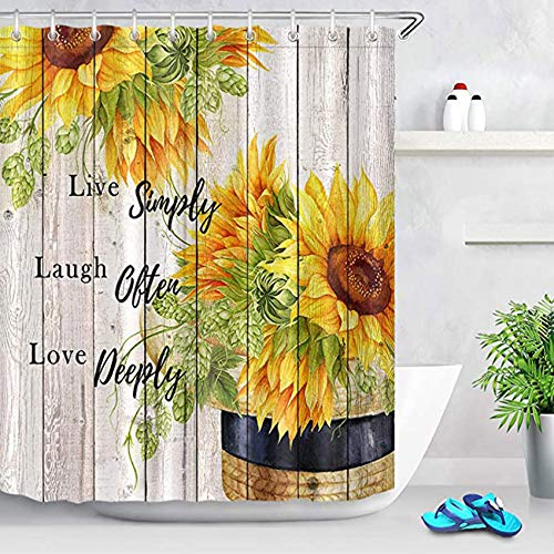 ECOTOB Farmhouse Sunflower Shower Curtain Decor, Sunflower on Rustic Vintage Wood Boards Live Laugh Love Shower Curtains 60X72 inch Polyester Fabric Bathroom Decorations Bath Curtains Hooks Included
