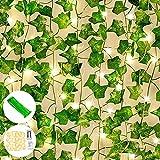 GUIFIER 12 Piezas de Guirnalda de Hiedra Artificial, Hojas Verdes Artificiales con Luces para la Pared del hogar, jardín, Boda, Fiesta en casa, Pasillo, decoración Interior y Exterior