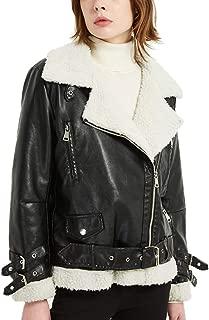 DISSA PPY520 Women Faux Leather Biker Jacket Slim Coat Leather Jacket