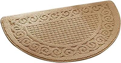 Olpchee Half Round Non-Slip Kitchen Bedroom Toilet Doormat Floor Rug Mat Keeps Your Floors Clean Decorative Design (Large, Camel)
