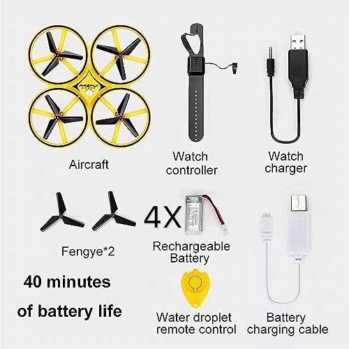 servicio honesto DOLDT1 Sensor de Reloj Drone Drone Drone de Cuatro Ejes Detección de Gestos Control Remoto Aviones Suspensión Evitar obstáculos Control Inteligente Juguete para Niños OVNI ( Color   4 Batteries )  hasta 42% de descuento