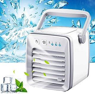 Wonepic LED 3 en 1 Mini Aire Acondicionado portátil USB para Escritorio Personal Ventilador Enfriador de Aire radiador para Oficina en casa Ventilador de Aire Acondicionado Coche