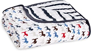 Aden + Anais Dream Blanket | Boutique Muslin Baby Blankets for Girls & Boys | Ideal Lightweight Newborn Nursery & Crib Blanket | Unisex Toddler & Infant Bedding, Shower & Registry Gift, Horses