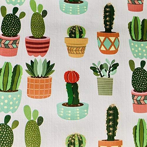 LAS TELAS ... Mantel de Hule Plástico por Metros, PVC, Cactus, Ancho 1,40 Mtrs. 1 Mtr.