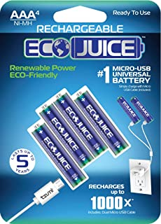 AAA Rechargeable Batteries Micro USB Ni-MH Universal Eco-Friendly 1000X Rechargeable by Eco Juice Micro-USB Rechargeable Battery 4 Pieces Pre-Charged
