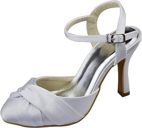 ZHRUI Hausschuhe de Boda para damen Slingback Satin para damen (Farbe   Weiß-9.5cm Heel, tamaño   3.5 UK)