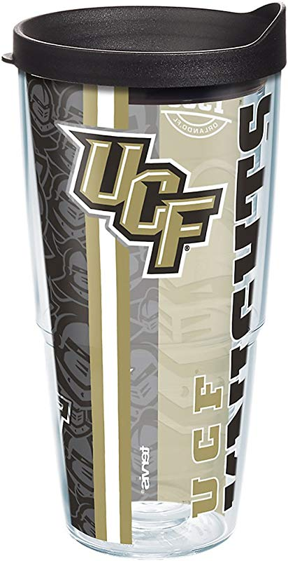 Tervis 1283400 UCF Knights College Pride Tumbler With Wrap And Black Lid 24oz Clear