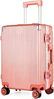 SMLCTY Luggage Lightweight Trolley Case, Waterproof Aluminum Frame Adjustable Lever 360° Rotating Mute Non-Slip Luggage (Color : Rose gold, Size : 20 inch)