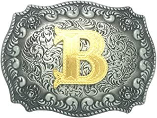 Western Belt Buckle Initial Letters ABCDMJR to Z-Cowboy Rodeo Silver Small Belt Buckle for Men and Women (B)