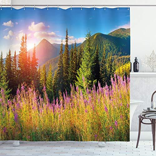 ABAKUHAUS Landschaft Duschvorhang, Frühlings-Blumen-Berg, Set inkl.12 Haken aus Stoff Wasserdicht Bakterie & Schimmel Abweichent, 175 x 240 cm, Grün Rosa