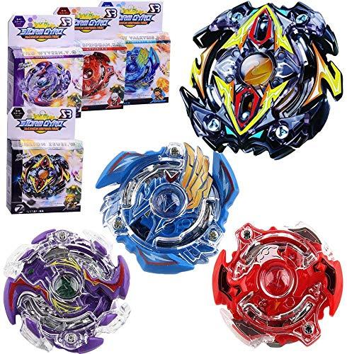 ML Pack 2 peonzas Estilo Bey Burst Blade con 3 lanzadores de Mano peonza Juguete con Lanzador de Mano Espada Estilo Bey (Azul-Lila)