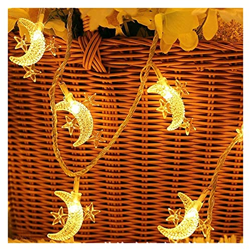 Moon Star Fairy Lights, 20ft 40 LED Battery Operated String Lights Decorative Lighting Outdoor String Light For Bedroom Ramadan Christmas Wedding Birthday Party Indoor Outdoor Decoration