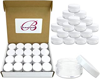 40 New empty 10 Gram (0.35 oz) Plastic Pot Jars with Lids for Lip Balms, Salves, Creams, Cosmetics, Nail Accessories, Rhinestones, Herbs, Spices - BPA Free (White Screw Lid)