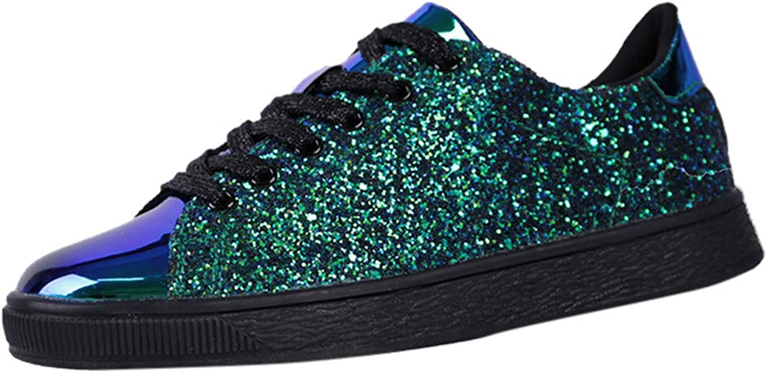BESSKY Women's Fashion Sequins Solid color Sneakers Nightclub Trend Wild Casual shoes