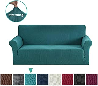 Argstar Jacquard Sofa Slipcover, Dark Cyan Stretch Couch Slip Cover, Spandex Furniture Protector for 3 Cushion Seater, Sofa Cover for Living Room, Machine Washable