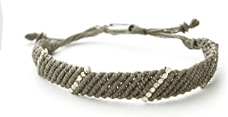 Wakami Bead Bracelet for Men Noir | Handmade Mens Bracelet | Silver Beaded, Wax Coated Waterproof String Thread | Adjustab...