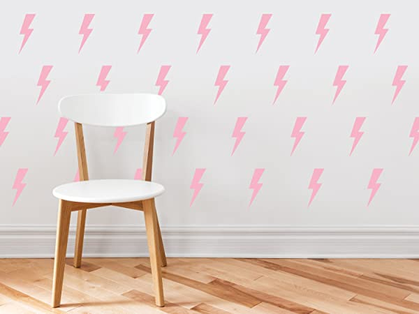 Lighting Bolts Fabric Wall Decals Set Of 50 Thunder Decals Pink Non Toxic Reusable Repositionable