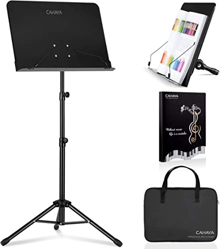 CAHAYA 2 in 1 Dual-use Sheet Music Stand & Desktop Book Stand Metal Portable Solid Back with Carrying Bag, Sheet Musi...