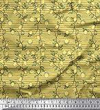 Soimoi Gelb Baumwoll-Popeline Stoff Streifen, Blätter und