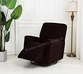 Stretch To Fit One Piece Lazy Boy Chair Recliner Slipcover, Stretch Fit Furniture Chair Recliner Cover With 3 Foam Pieces to Hid Extra Fabric, 4 ELASTIC STRAPS for Cover Stability (Chocolate/ Brown)