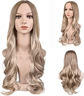 MelodySusie Ombre Wig Honey to Light Blonde Long Curly Wavy Wig for Women, 28 Inches Synthetic Hair Replacements Wigs Heat Resistant Daily Halloween Cosplay Wig with Free Wig Cap, Honey Light Blonde