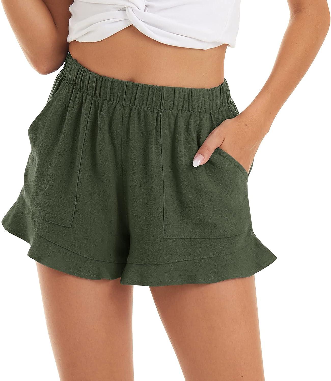 CRYSULLY Women's Comfy 4 years warranty Summer Casual W Shorts Ruffle Elastic Hem Mail order