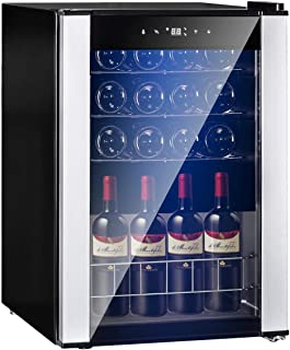 SMETA 19 Bottles Wine Refrigerator Under Counter Wine Cooler Cellar for Champagne Beer Quiet Operation,Stainless Steel