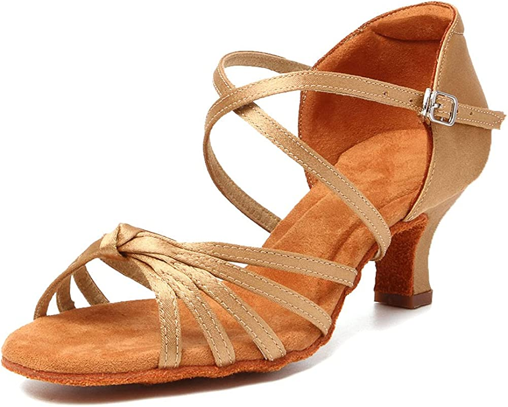 HROYL Women Latin Dance Shoes Satin Professional Ballroom Salsa Practice Performance Dance Shoes,WLL