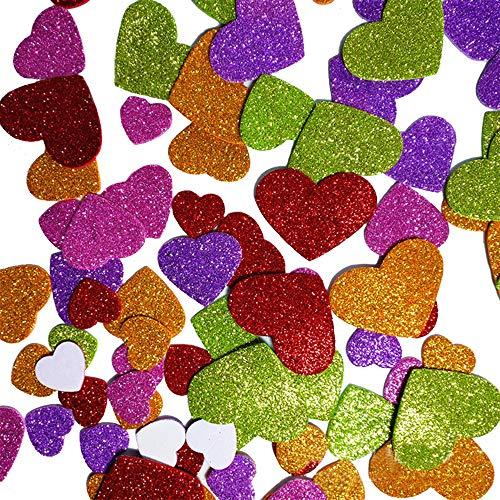 100pcs Glitter Schaumstoff Sticker Selbstklebendes Herz,Glitzernde Moosgummi-Aufkleber, Glitzernde Moosgummi, Für Kids Craft Verzierungen zum Dekorieren, Scrapbooking & Kartenherstellung, Mischfarben