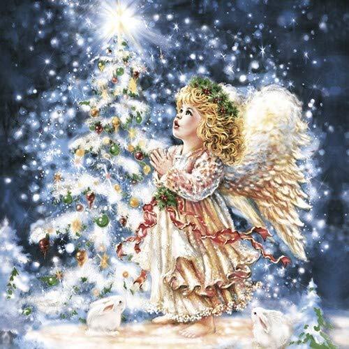 20 Servietten Engel am Weihnachtsbaum als Tischdeko für den Winter und Weihnachten 33x33cm