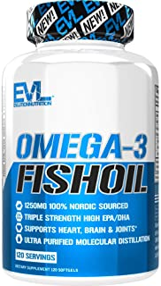 Evlution Nutrition Omega 3 Fish Oil 1250mg, HIGH EPA 450mg, DHA 300mg Triple Strength, Capsules (120 Servings)