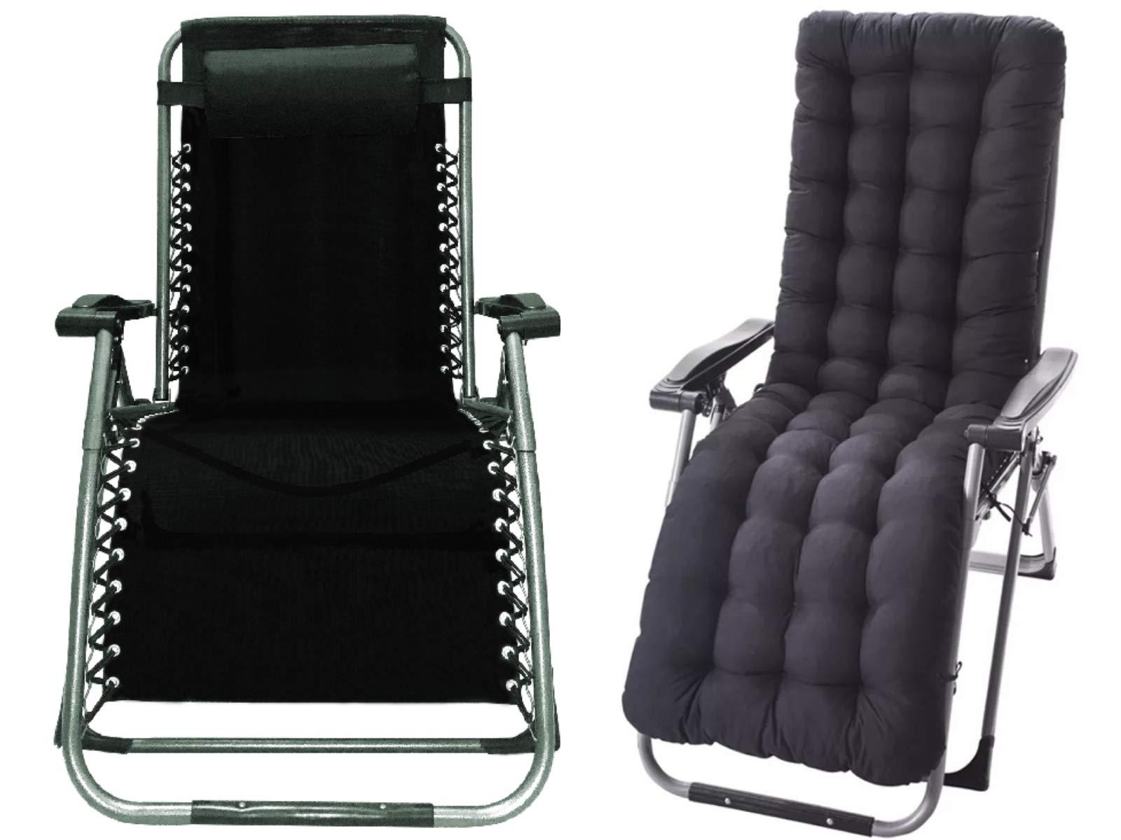 Four Seasons with Cushion Upgraded Heavy Duty Zero Gravity Chair Lounge Recliner Folding Adjustable Portable Office  sc 1 st  Amazon.com & Zero Gravity Office Chair: Amazon.com