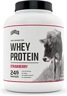 Levels 100% Grass Fed Whey Protein, No GMOs, Strawberry, 5LB