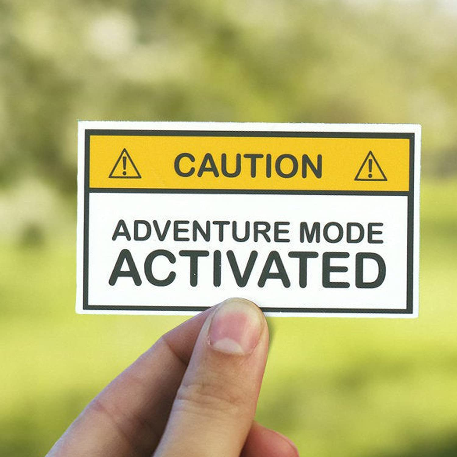 Caution Adventure Mode Activated Warning Sticke Camping Outlet SALE Ranking TOP2 Sticker