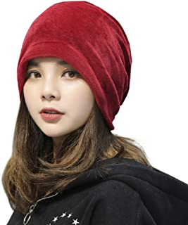 MIA GARMENT Skull Cap Warm Winter Hats for Women Men Slouchy Beanie Fashion Velvet Hat Solid Color