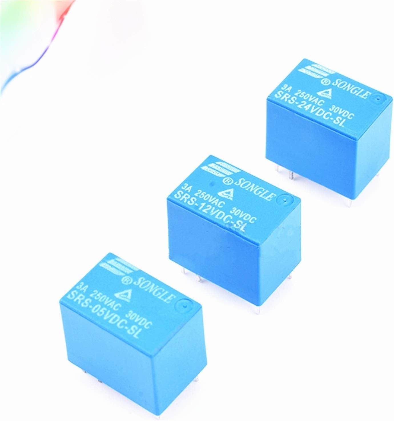 JSJJAES Relé 5pcs Relés Tipos Power Relay SRS PCB 6 Pines Blue 5V 9V 12V 24V SRS-05VDC-SL SRS-12VDC-SL SRS-24VDC-SL * FD390-392 (Size : SRS 05VDC SL)