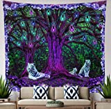 Tiger Tree Tapestry Wall Hanging Cool Psychedelic Matrix Blacklight Wall Art, Trippy Purple Forest Tree of Life, White Tigers Jungle, Green Zen Decor Living Room, Bedroom, Dorm, Large 58x51 inches
