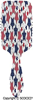 Massage Combs Premium Air Cushion Massage Scalp for Healthy Hair Big Star Figures with American Flag Featured Inner Lines Proud Country Design Decorat Hair Brush for All Hair Types