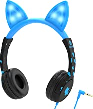 iClever Kids Headphones Over Ear, Cat-Inspired Ears, Wired Headsets 85dB Volume Limited, Food Grade Silicone, LED Flashlight, 3.5 mm Aux Cable, Headphones for Children, LED-Blue (New-LEDB)