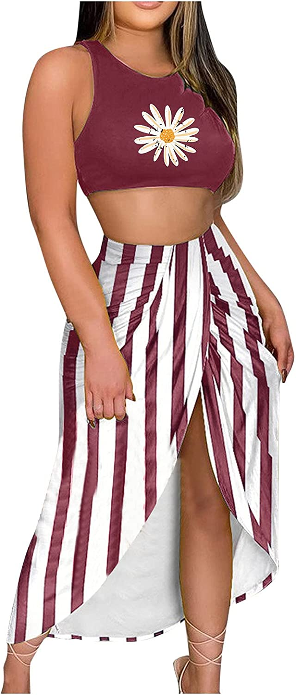 Women Set Solid Top Printing Slit Beach Long Maxi Skirt Two-Piece Suit Set